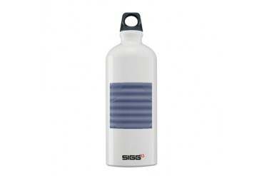 Blue White Nautical Stripes Art Sigg Water Bottle 0.6L by CafePress