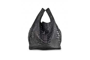 Black Croco Coated Canvas Tote