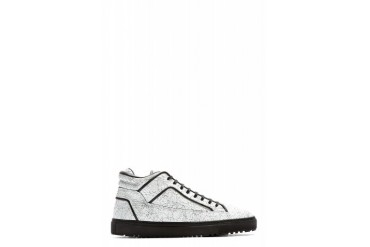 Etq Amsterdam White Cracked Leather Mid top Sneakers