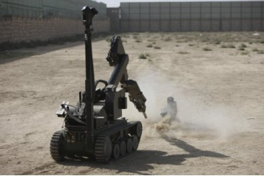 The tEODor heavy-duty bomb disposal robot.