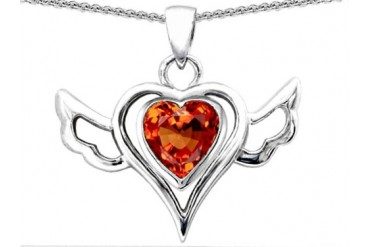 Star K Wings Of Love Pendant Heart Shape Simulated Orange Mexican Fire Opal