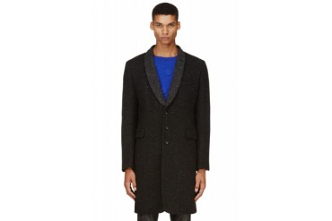 Ann Demeulemeester Black Contrast Lapel Tweed Coat