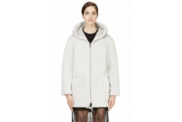Msgm Grey Eco Shearling Parka