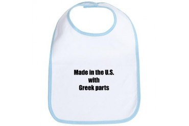 Made in the U.S. with Greek Parts Baby Bib by CafePress