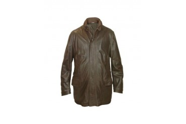 Men's Dark Brown Leather Car Coat