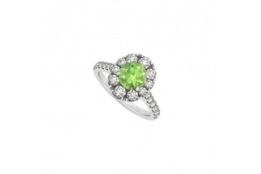2.00 Carat Peridot and Cubic Zirconia 14K White Gold Engagement Ring