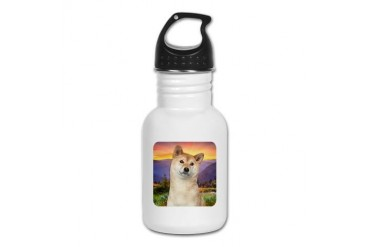 Shiba Inu Meadow Cute Kid's Water Bottle by CafePress