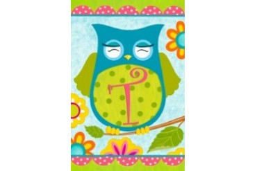 Whimsical Happy Owl Friends Monogram T Double Sided Garden Flag