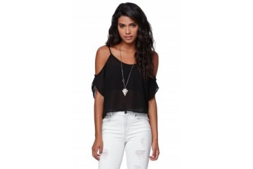 Womens Lush Shirts & Blouses - Lush Cold Shoulder Top