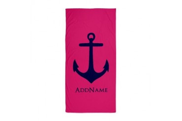 Modern Pink and Navy Blue Anchor Perso Beach Towel