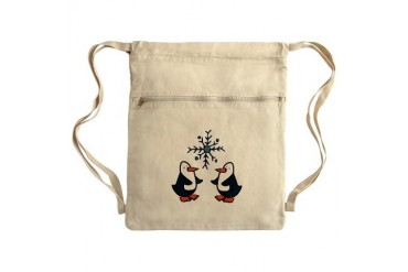Snowflake Penguins Sack Pack Penguin Cinch Sack by CafePress
