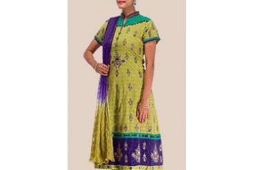 Stunning Green Blended Cotton Kalidar Suit