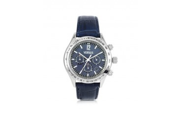 Cosmopolitan Blue Croco Embossed Leather and Stainless Steel Men's Watch
