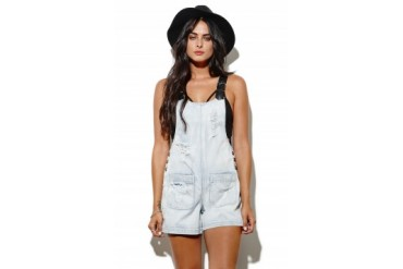 Womens Evil Twin Dresses & Rompers - Evil Twin Buckle Up Denim Romper