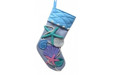 Nautical Beach Starfish and Seashells on Blue Christmas Holiday Stocking