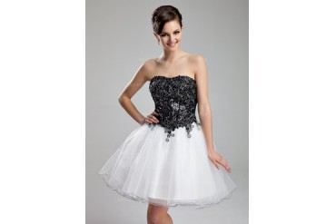 A-Line/Princess Sweetheart Knee-Length Organza Sequined Homecoming Dress With Lace (008025932)
