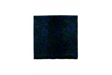 Burberry Prorsum Green And Blue Cashmere Jacquard Leaves Scarf