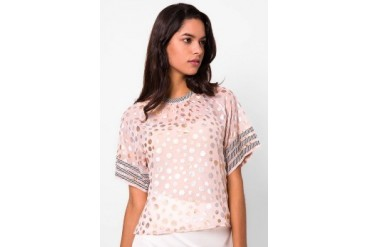 (X) S.M.L Polka Top With Stripes Band