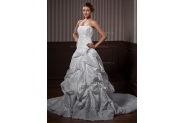 Ball-Gown Strapless Chapel Train Taffeta Wedding Dress With Ruffle Lace Beading Flower(s) (002012844)