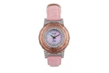 Omax NB0474-White Dial Alloy Pink Strap Watch