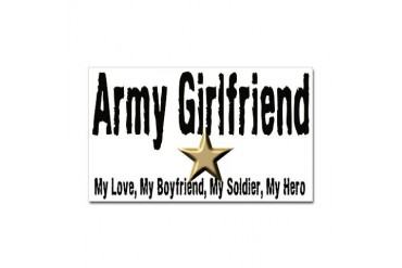 Army Girlfriend - My Hero Rectangle Sticker Military Sticker Rectangle by CafePress