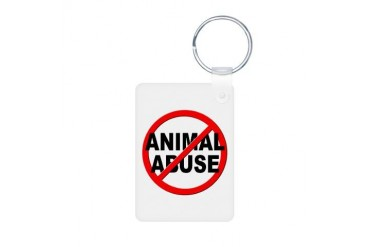Anti / No Animal Abuse Pets Aluminum Photo Keychain by CafePress