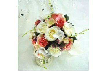 Colorful Round Artificial Silk Bridesmaid Bouquets (123048080)