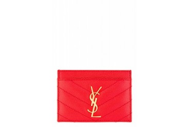 Saint Laurent Red Quilted Leather Monogrammed Credit Card Case