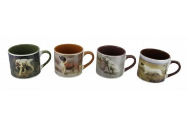 Set of 4 American Kennel Club Dog Painting Ceramic Mugs 20 Oz.