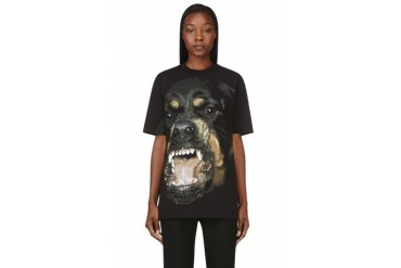 Givenchy Black Big Rottweiler Print T shirt