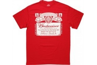 Budweiser White Label on Red T-Shirt