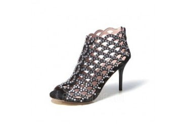 Stiletto Heel Sandals Pumps Boots With Rhinestone Hollow-out shoes (087048793)