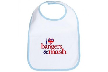 Bangers and Mash Union jack Bib by CafePress