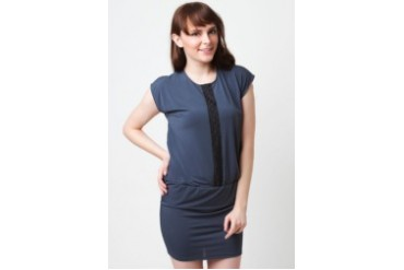 Poivre Gray dress with lace strip