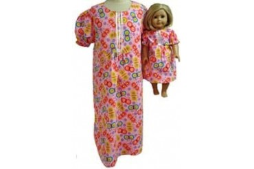 Matching Girls Dolls Bright Pink Nightgown Size 8