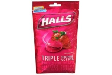 Halls Menthol Oral Anesthetic Drops Strawberry