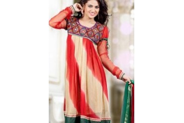 Classy Red And Cream Chiffon Churidar Suit