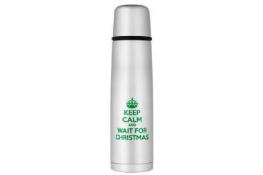 Keep calm and wait for christmas Large Thermos Bot Funny Large Thermosreg; Bottle by CafePress