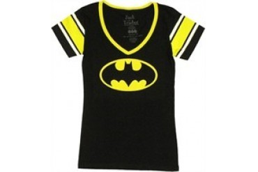 DC Comics Batman Logo Jersey V Neck Jack of All Trades Baby Doll Tee
