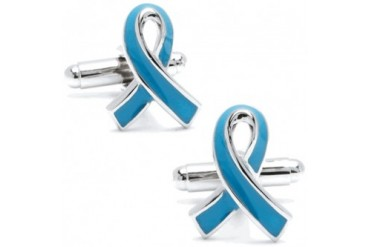 Prostate Cancer Awareness Blue Ribbon Cufflinks