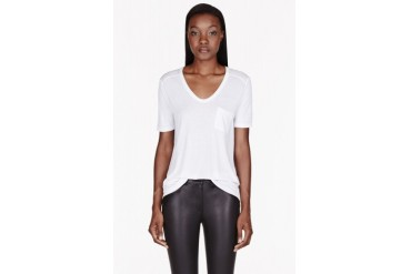 T By Alexander Wang White Classic Pocket T shirt