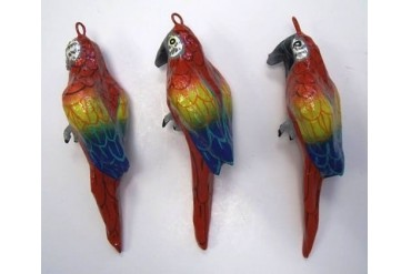 Coastal Tropical Parrots Paper Mache Holiday Ornaments Decorative Set of 3