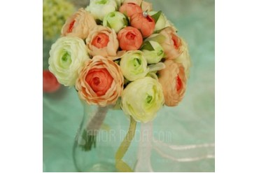 Comely Round Satin Bridesmaid Bouquets (124032073)