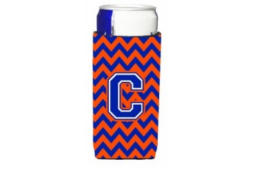 Letter C Chevron Orange and Blue Ultra Beverage Insulators for slim cans