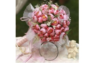Fascinating Round Satin Bridal Bouquets (124032087)