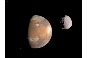 Artist s concept of Mars and it s moon, Dione.