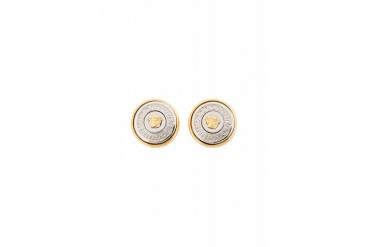 Versace Gold And Silver Medusa Medallion Earrings