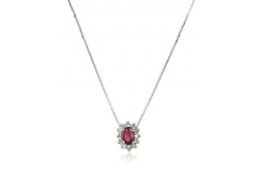 Diamond and Ruby Drop 18K Gold Necklace