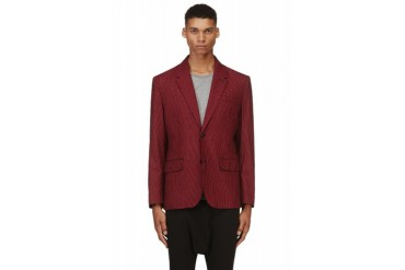 Marc By Marc Jacobs Red And Black Wool silk Gingham Check Boyd Blazer