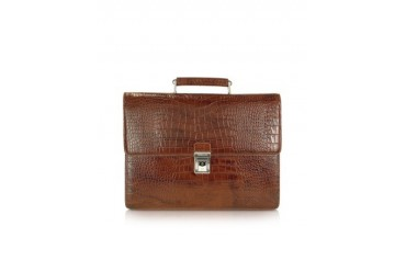 Croco Fashion - Brown Croco Stamped Leather Briefcase